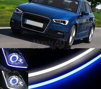 2x60 سنتيمتر drl قطاع مرنة led أنبوب نمط سيارة العلوي الضوء الأزرق/الأبيض المتعرج للماء