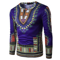 Men T Shirt Fashion Pattern 3D Printed Ethnic Style Male T Shirt Casual Long Sleeve T