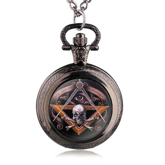 50e1062ce Antique Vintage Skull Masonic Pocket Watch Retro Bronze Pendant Necklace  Steampunk Quartz Watches Men Gifts HB810