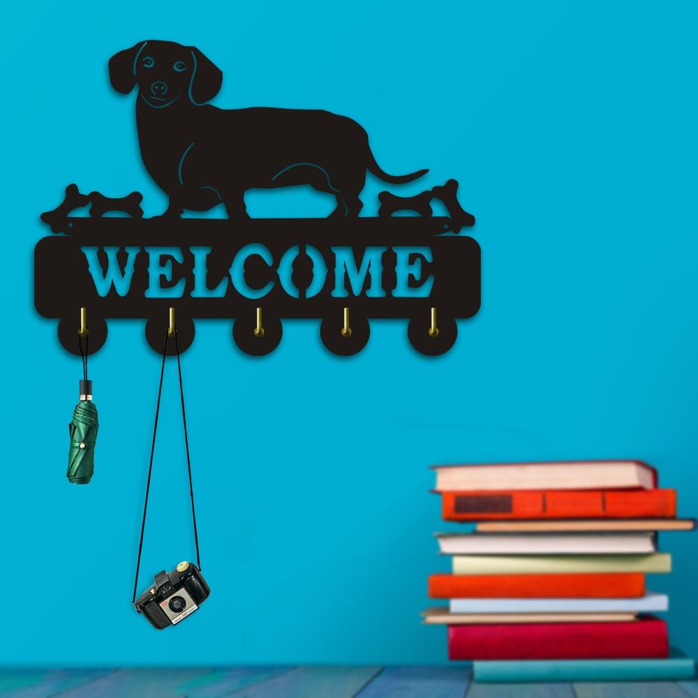 1Piece Dachshund Wall Hook Sausage dog Welcome Animals Hanger Wie Coat Rack Wooden Key Holder Umbrella