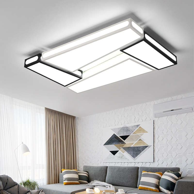 Creative simplicity modern Ceiling Lights black and white iron led ceiling lamp for living room bedroom lamparas de techo black or white rectangle living room bedroom modern led ceiling lights white color square rings study room ceiling lamp fixtures