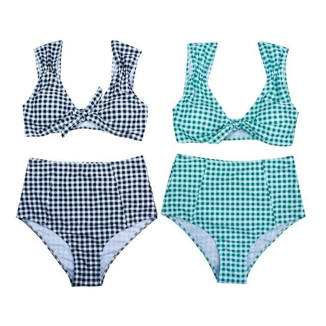 874e12a648bf2 2018 NEW High Waisted Tie Plaid Bikini High Rise Cut Bikini Checkered  Bathing Suit Swimsuit Swimwear Split Two Piece Swim Suit