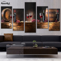 5 Panel Wall Art Fruit Grape Red Wine Glass Picture Art For Kitchen Bar Wall Decor
