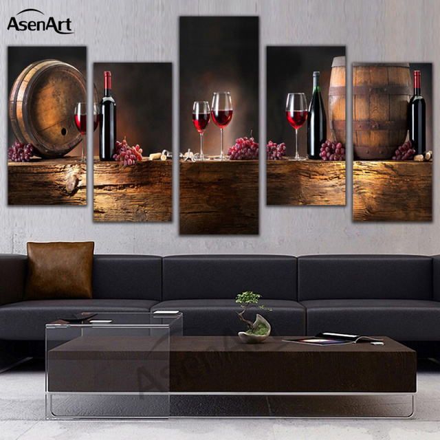 5 Panneau Mural Art Fruits Raisin Rouge Vin En Verre Photo Art