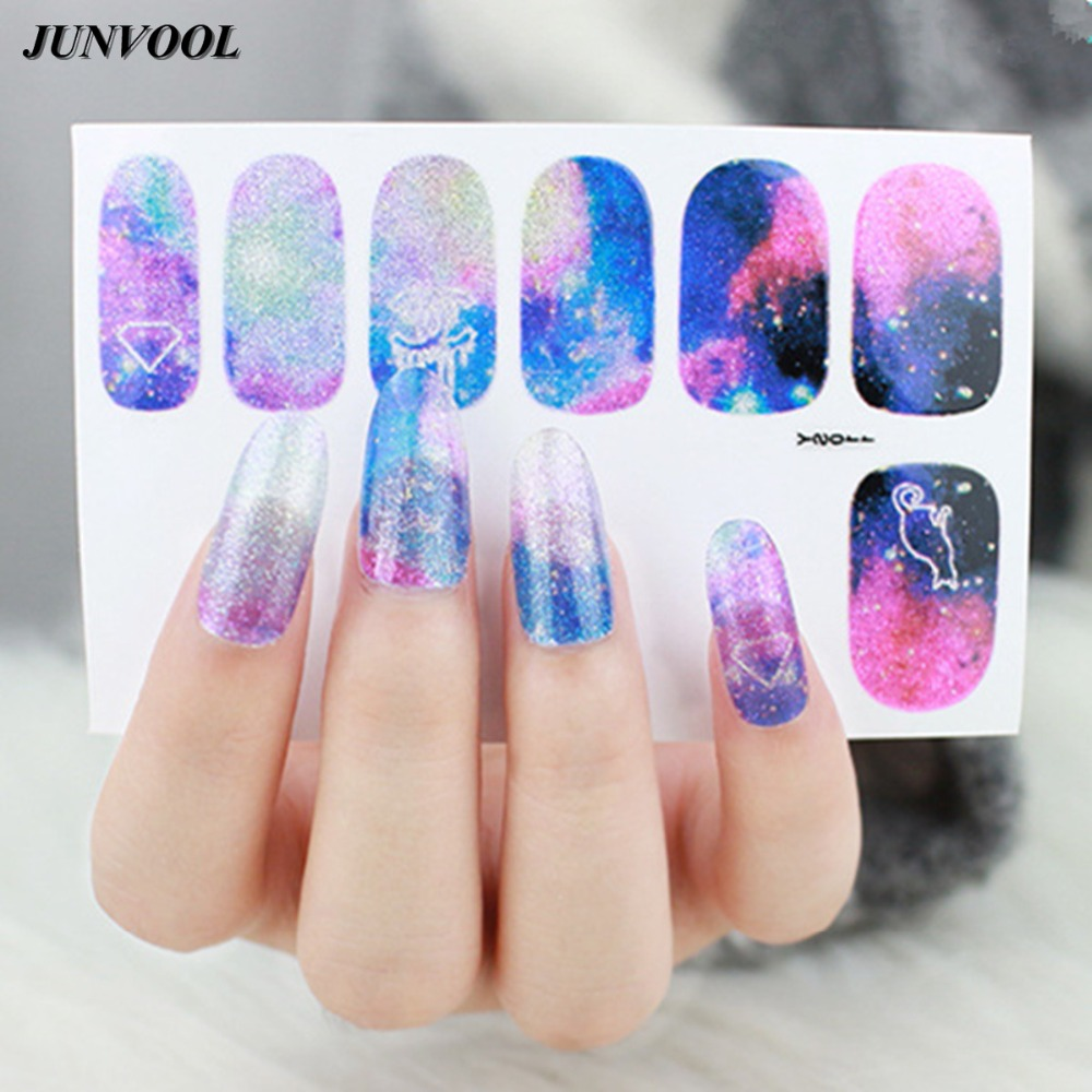 16pcs/lot Galaxy Nebula Nail Sticker 3D Decals Auto Adhesive Nail ...