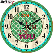 hot deal buy meistar vintage wooden clocks brief design silent home cafe office wall decor clocks for kitchen wall art  large wall clocks