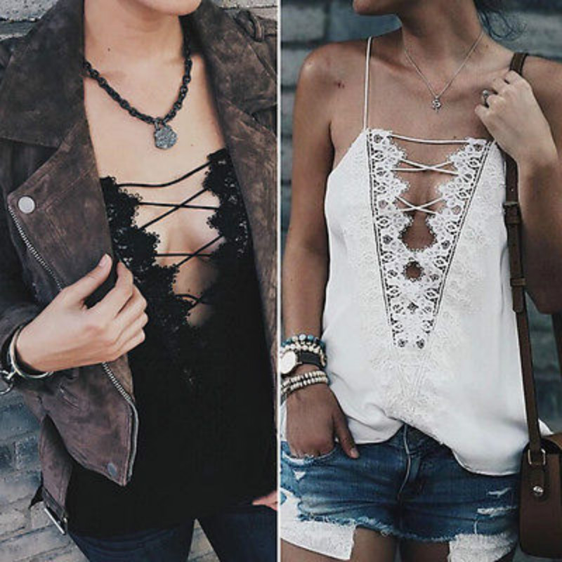 5e91dd9c5a3 Fashion Women Floral Lace Crochet Tanks Tops Lace Up Sleeveless Strapless  Vest Top Camis Casual Loose Party Clubwear Outfits NEW-in Camis from Women s  ...