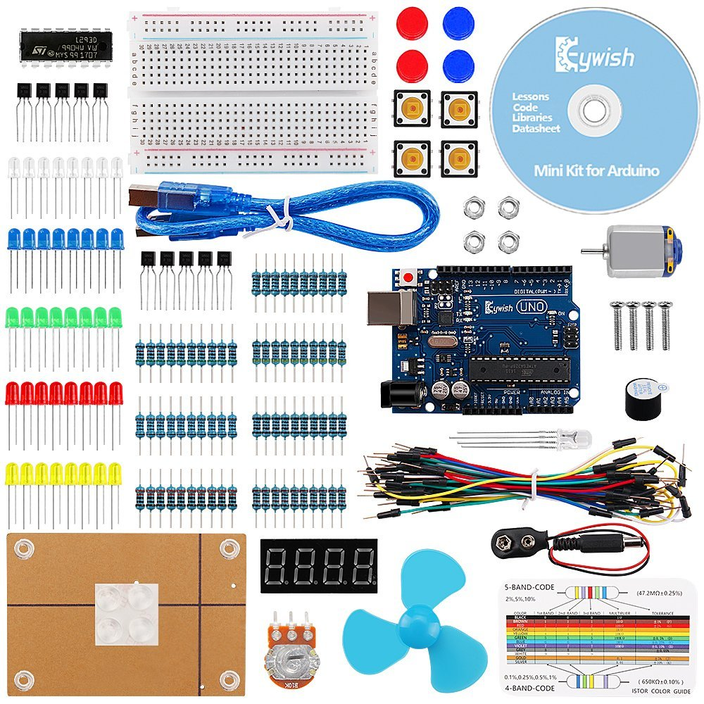 For Arduino, UNO R3 Project Mini Kit with Tutorials & R3 Controller Board,LCD Screen,Resistors Rotary Potentiometer,Resistor цена 2017
