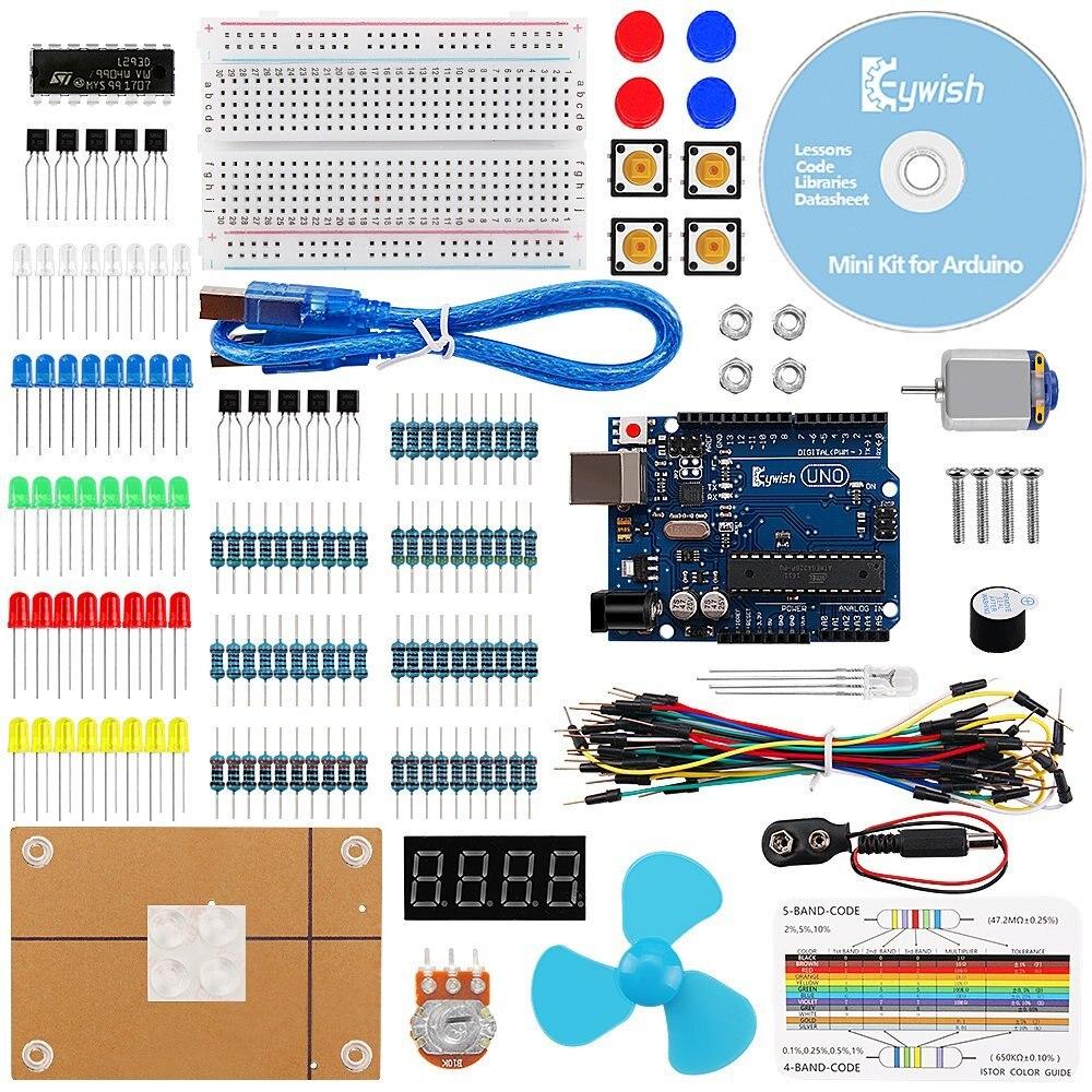 Pour Arduino, UNO R3 Projet Mini Kit avec Des Tutoriels et R3 Carte Contrôleur, Écran LCD, Résistances Potentiomètre Rotatif, Résistance