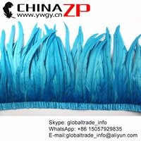 CHINAZP Factory Wholesale Retails Sale 12 14 inch Width Turquoise Dyed Rooster Tail Feather Fringe Trim for Carnival Costume
