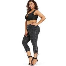 Plus Size Side Shirred Denim Capri Jeans for Women
