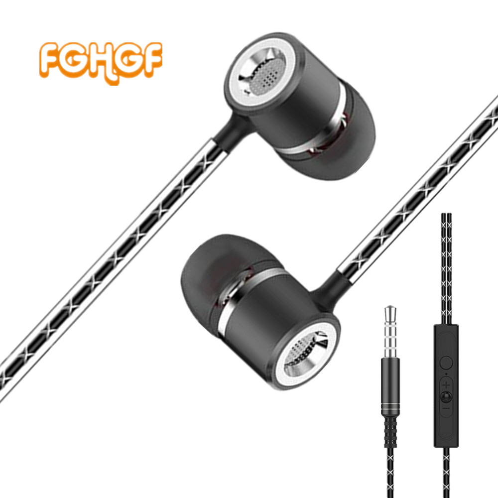 FGHGF Metal Earphone With Mic S1 Wired Super Heavy Bass Earbuds In-ear With Stereo Microphone Headset for Samsung Iphone misr t3 wired earphone metal in ear headset magnet for phone with mic microphone stereo bass earbuds