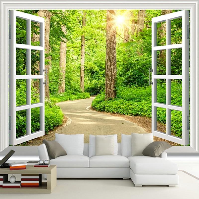 Nach 3d Foto Tapete Grün Sonnenschein Wald Road Fenster Natur