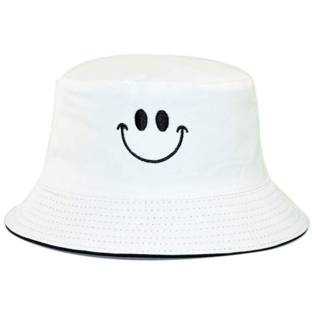 73700b6d6 Reversible Bucket Hat for Women Cotton Smiley Embroidery Double Sides  Panama Hat Spring Autumn Cool Hat Men