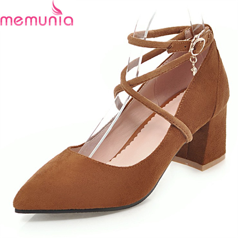 MEMUNIA large size 34-45 2018 fashion women pumps thick high heels pointed toe solid sweet spring autumn party shoes new 2017 spring summer women shoes pointed toe high quality brand fashion womens flats ladies plus size 41 sweet flock t179