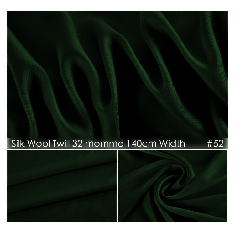 Silk Wool Twill Fabric 140cm width 32mommes/48%Silk+52%Wool Suits Plush Fabric Wedding Party Dress Fabric No.52 Dark Green