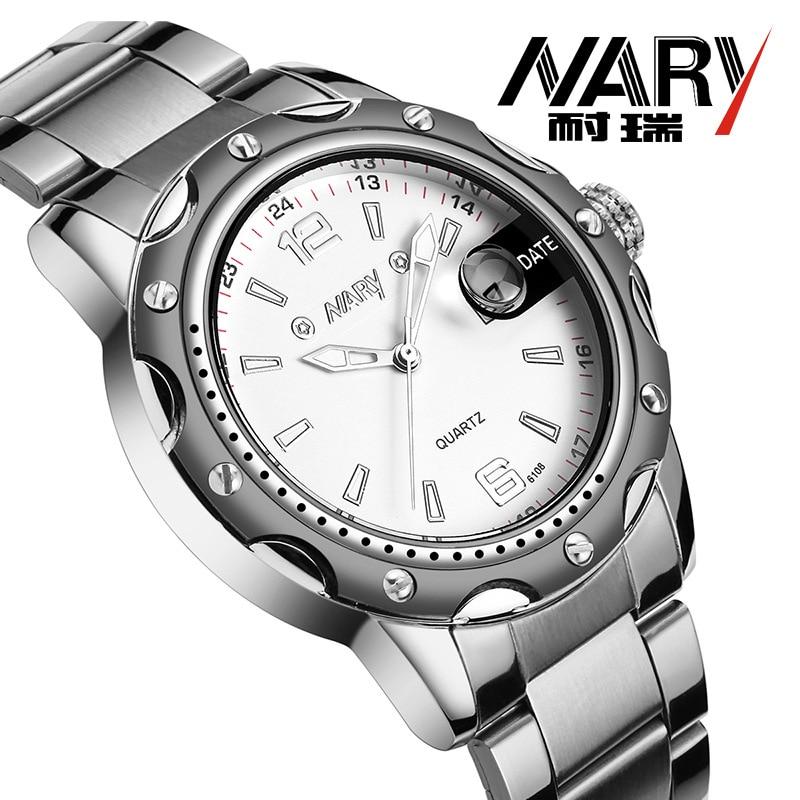 NARY Quartz Wristwatch Band-Calendar Business Stainless-Steel Casual Fashion Brand Relogio Masculino