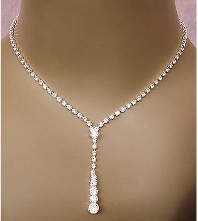 Crystal Tennis Drop Necklace Set 14 17 Silver Bridal Bridesmaid