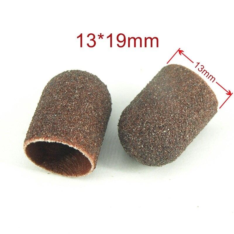 13 19mm 10pcs Sanding Bands Block Caps Rubber Mandrel Grip Manicure Pedicure Tools Electric Nail Drill
