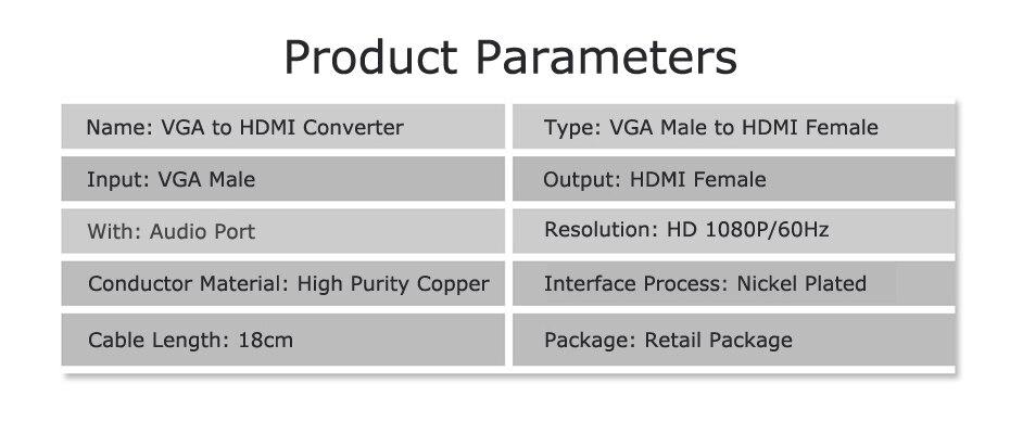 VGA to HDMI Cable Converter Adapter 13