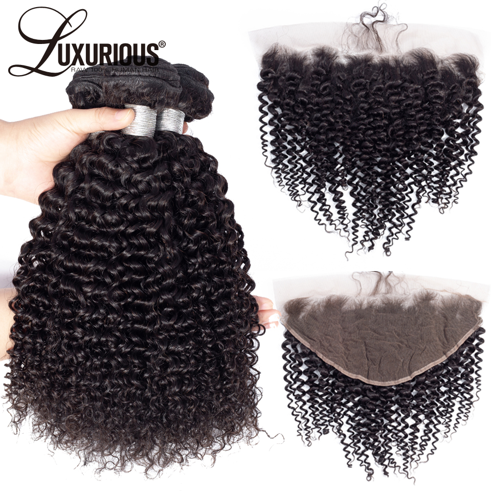 100% Brazilian Remy Hair Kinky Curly Hair Bundles With 13x6 Lace Frontal With Baby Hair Natural Color 4PCS / Lot