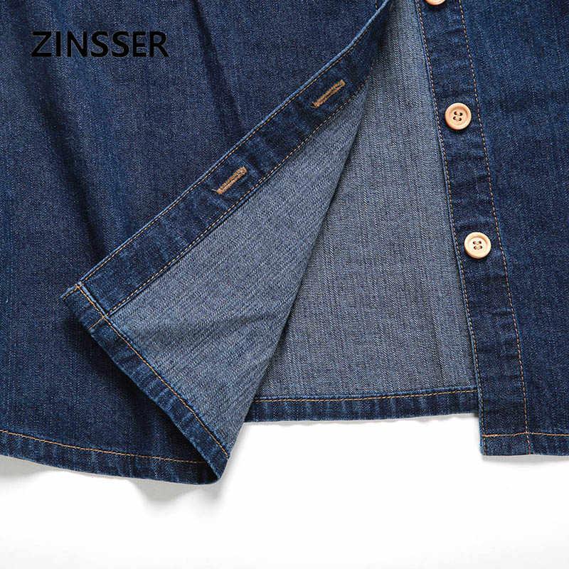 الخريف الشتاء النساء الدنيم يتوهم قميص اللباس ضئيلة طويلة الأكمام 100% القطن غسلها الأزرق الإناث سيدة بلوزة أعلى