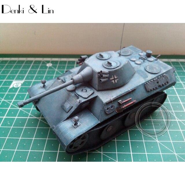 1:35 DIY 3D Germany VK 1602 Leopard Tank Paper Model Second World War Assemble Hand Work Puzzle Game DIY Kids Toy Denki & Lin