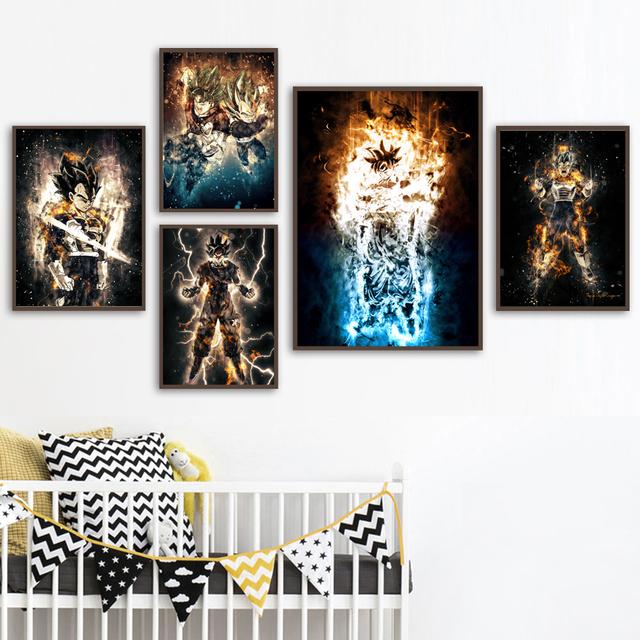 Dragon Ball Super Anime Manga Posters And Prints Saiyan Son Goku Vegeta Jiren Wall Art Canvas Painting Pictures Home