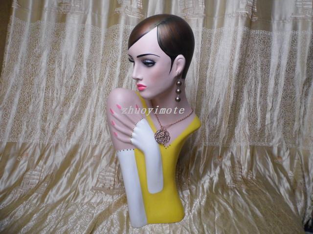 Femme Fiberglass Mannequin Tête Tête Torse/Affichage Portemanteaux