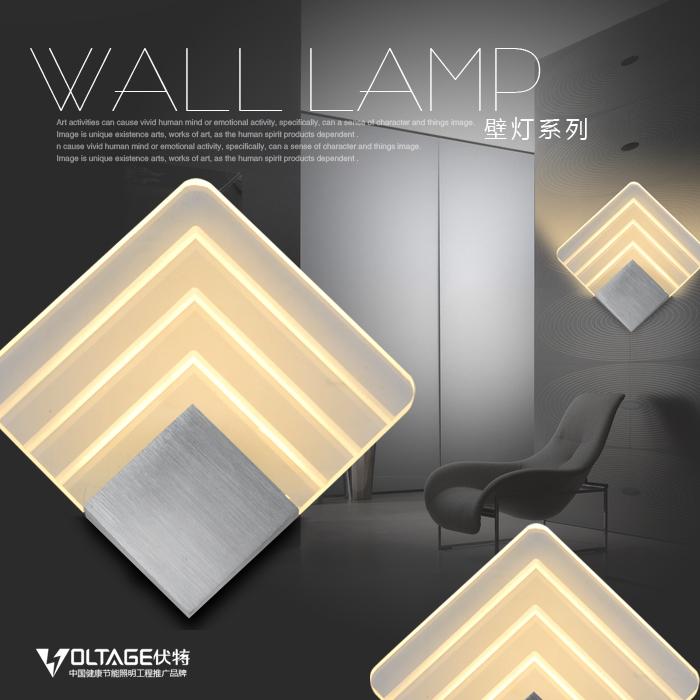 ФОТО Aluminum square led wall lamp bed-lighting background light aisle lights lamps 7113