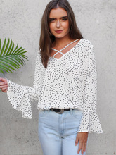 купить chic women blouse new female ladies hot womens polka dots v-neck top sexy autumn winter shirt top онлайн