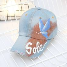 951144733a1 2018 Painted Butterfly Baseball Cap Denim Rhinestone Women s cap Snapback  Hip Hop Flat Hat bone feminino