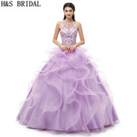 H&S BRIDAL Halter Lilac Beading quinceanera dresses Ball Gown vestidos de 15 anos quinceanera 2019 Lace Up sweet 16 dresses