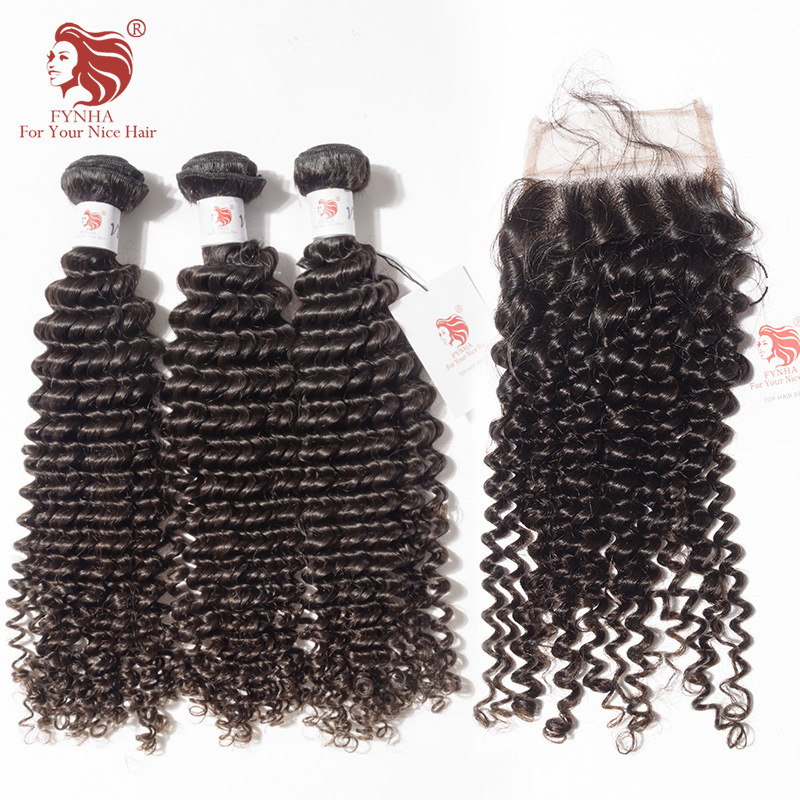 [FYNHA]Peruvian Kinky Curly Virgin Hair Weave 3 Bundles With Lace Closure Human Hair Extensions
