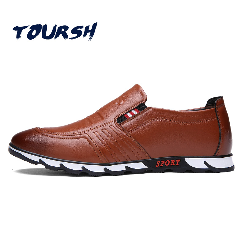 TOURSH New 2018 Summer Brand Casual Men Shoes Mens Flats Luxury Genuine Leather Shoes Man Breathable Oxford Big Size Leisure