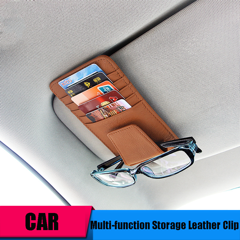 Car-styling Genuine Leather Tidying Bag Glasses Clip Car Organizer - Car Interior Accessories