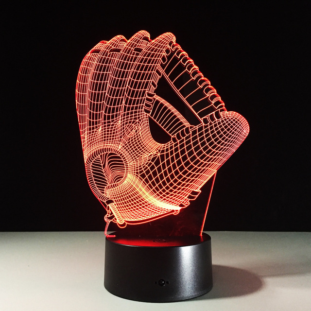 Touch Color Changing 3D LED Night Light Mood Lamp Baseball Glove Acrylic Bedroom Lighting Decoration Rugby