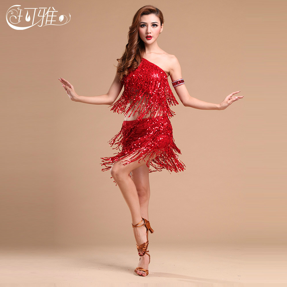 Free Shipping Latin Dance Costume Skirt Performance Wear Adult Tassel  Sequins Clothing for Women Latin Dance Dress-in Latin from Novelty   Special  Use on ... 6ba57fc6e11d