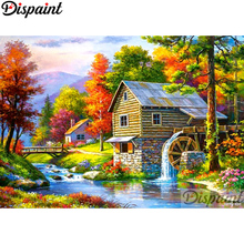 Dispaint Full Square/Round Drill 5D DIY Diamond Painting House tree Embroidery Cross Stitch 3D Home Decor A10998