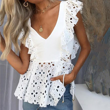 Conmoto Elegant White Lace Embroidery Ruffle Women Blouse Shirts Casual Summer Hollow Out Shirt Sexy Female Blusa 2019 New(China)