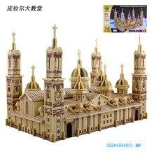 Деревянная 3D модель здания игрушка подарок головоломка ручная работа сборка игры деревянное ремесло Строительный набор pilar cathedral Испания Сарагоса 1 шт