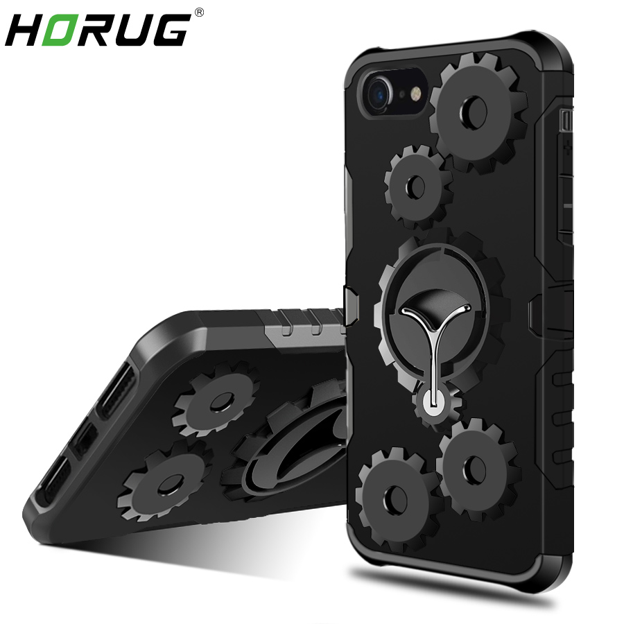 2018 HORUG Fashion Armor Mobile Phone Bag Case For iPhone 6 6S 7 8 Plus X 5 5S 5C SE Case Finger Ring Kickstand Phone Cover Case