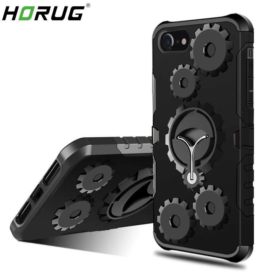 2018 HORUG Mode Rüstung Handytasche Fall Für iPhone 6 6 S 7 8 Plus X 5 5 S 5C SE Fall Fingerring Kick Phone Abdeckung fall