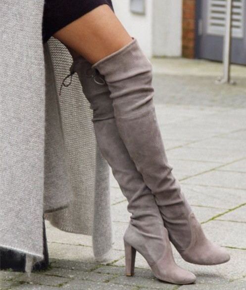 4ea6dd26a2802 Beige Gray Suede Boots Chunky High Heels Autumn Boots Women Over The Knee  Lace Up Thigh High Boots Ladies Shoes Fashion Boots