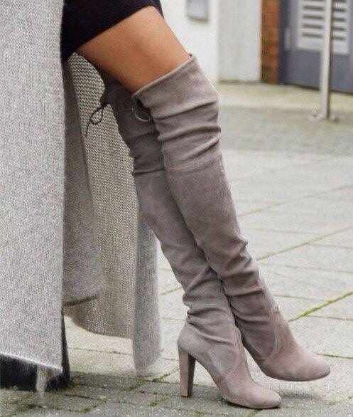 Beige / gris en daim bottes Chunky talons hauts automne bottes femmes sur  la dentelle de