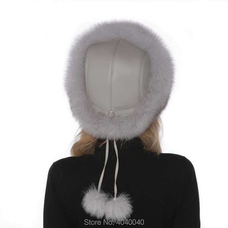 0a48f945 ... Bravalucia Women Winter Hat Real Fox Fur with Lamb Leather Mongolian Hats  for Lady Bomber Russian