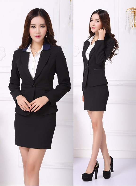 New Elegant Black Professional Fall Winter Business Women Work Wear Suits With Mini Skirt For Office Las Uniforms Design In From S