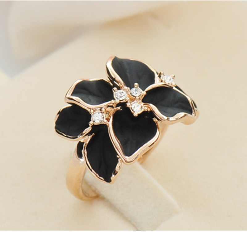 QCOOLJLY Hotting ขายเครื่องประดับแหวน Rose Gold สีออสเตรียคริสตัลสีดำเคลือบดอกไม้สำหรับสตรี
