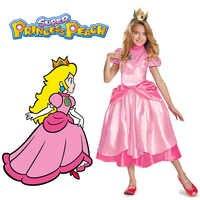 Kleine Prinses Perzik Kostuum Super Mario Brothers Prinses Cosplay Classic Game Mario Kostuum Kinderen Meisje Halloween Fancy Dress