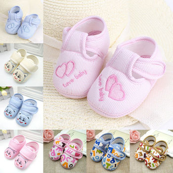 2017 Brand New Cute Toddler Infant Newborn Baby Boy Girl Crib Moccasin Shoes Kids Soft Soled Cotton Shoes Cute First Walkers 1